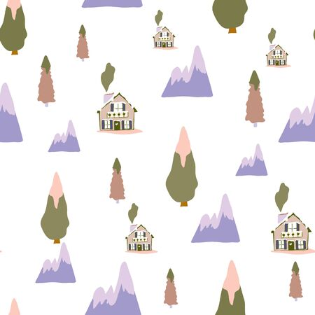 Small Print Swiss Chalet Winter Collection Repeat Pattern Seamless Vector