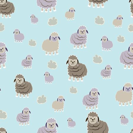 Little Lambs Counting Sheep Collection Repeat Pattern Vector Print