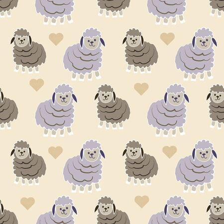 Little Lambs in Oatmeal Counting Sheep Collection Repeat Pattern Vector Print