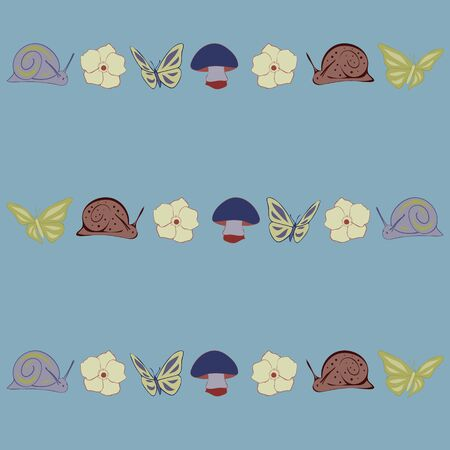 Mushrooms and Snails Floral Seamless Repeat Pattern Vector Background. Excellent for any surface.