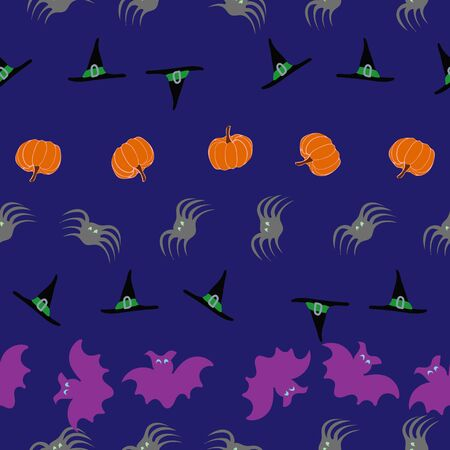 Midnight Striped Halloween Haunt and Howl Seamless Repeat Pattern Vector Print. A fun Halloween print perfect for any surface.