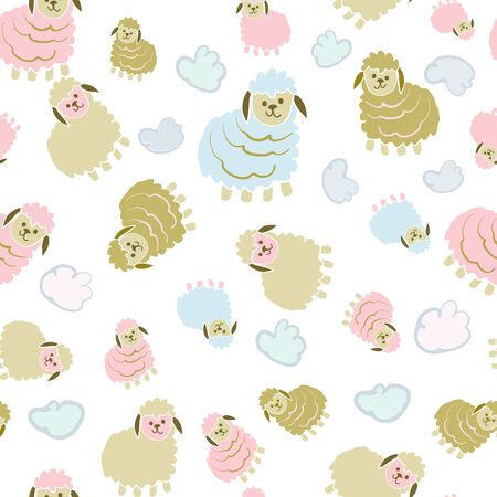 Boy or Girl Lambs Counting Sheep Collection Repeat Pattern Vector Print. A cute print for children decor or clothing.