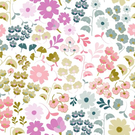 Stylized Floral Collection Repeat Pattern Vector Print