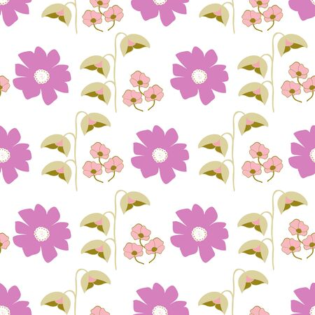 Horizontal Stylized Floral Collection Repeat Pattern Vector Print