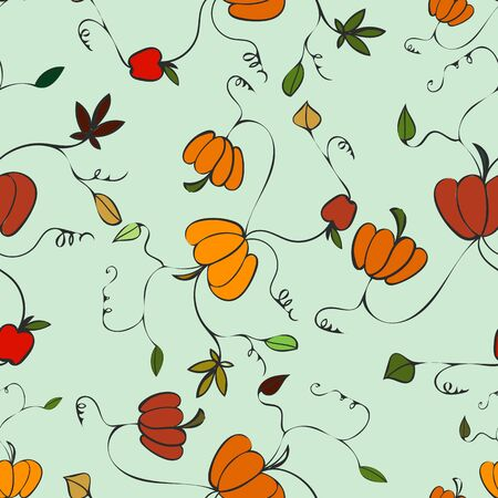 Happy Fall Pumpkin Print Vector Seamless Repeat Pattern. Great for Halloween, Fall and Thanksgiving. Ilustração