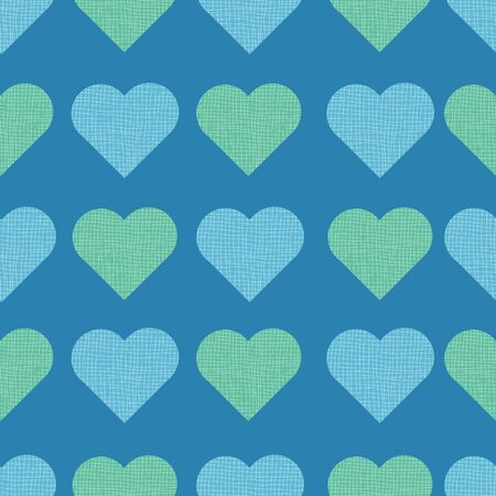 Striped Horizontal and Vertical Blue and Green Hearts Print Repeat Pattern Vector. A cute pattern for any occasion. Ilustracja