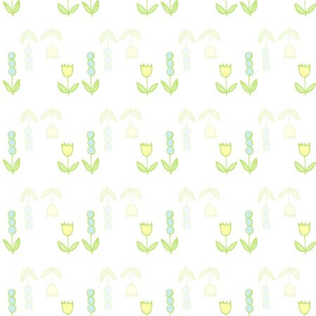 Single Folky Flower on White Repeat Pattern Vector Print. A pretty print for any surface.
