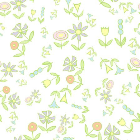 Scattered Folky Flowers on White Repeat Pattern Vector Print. A pretty print for any surface.
