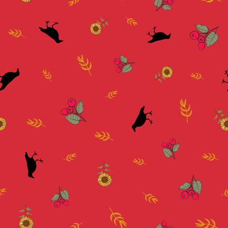 Autumn Fall Seamless Repeat Pattern Print in Vector. A perfect print for the fall autumn season.