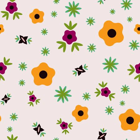 Tiny Flowers on a Pale Peach Background Flower Folk Collection Repeat Pattern Vector. A pretty pattern for any surface.