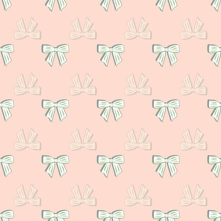 Cute Hamster Collection Peach Bows Complement Pattern in White Repeat Print Vector
