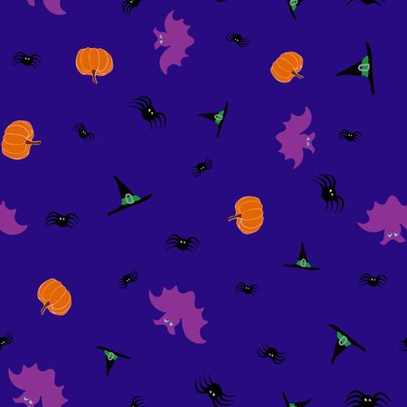 Midnight Halloween Haunt and Howl Seamless Repeat Pattern Vector Print. A fun Halloween print perfect for any surface. Ilustrace
