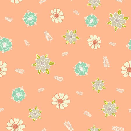 Orange Scattered Garden Floral Collection Repeat Pattern Vector Print