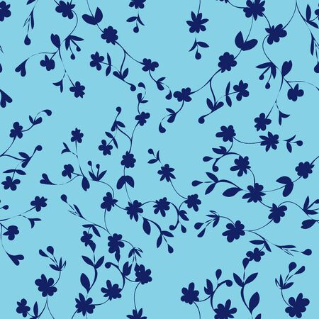Blue on Blue Floral Repeat Print Pattern in Vector Çizim
