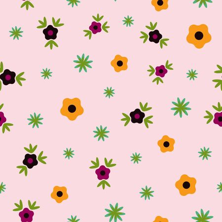 Tiny Flowers on Pink Floral Folk Collection Repeat Pattern Vector