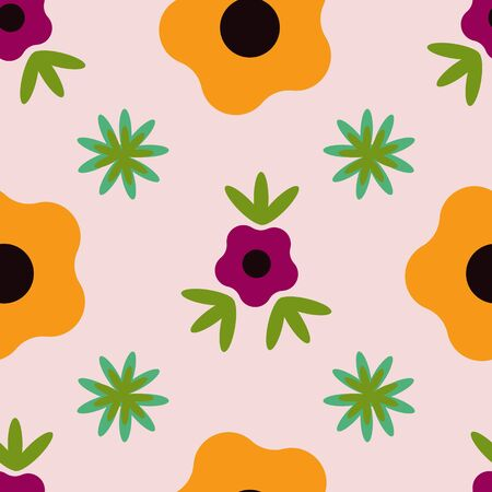 Large Flowers on a Peach Background Flower Folk Collection Repeat Pattern Vector