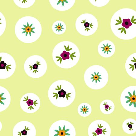 Polka Dots on Soft Green Floral Folk Collection Repeat Pattern Vector. A pretty pattern for any surface. Illusztráció