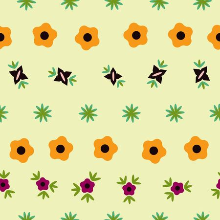 Striped Soft Green Floral Folk Collection Repeat Pattern Vector. A pretty pattern for any surface.