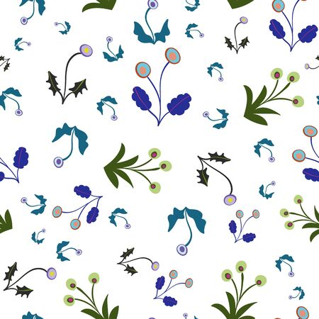 Green Blue and Lilac Floral Seamless Repeat Pattern Vector Background. Perfect for any surface