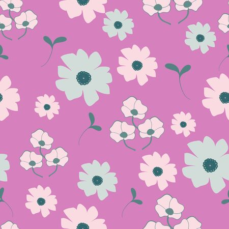 Fanicful Stylized Floral Collection Repeat Pattern Vector Print Illustration