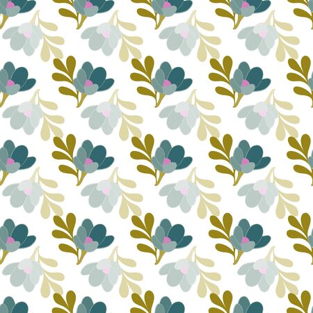 Shadowed Stylized Floral Collection Repeat Pattern Vector Print