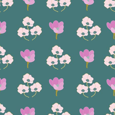 Teal Stylized Floral Collection Repeat Pattern Vector Print