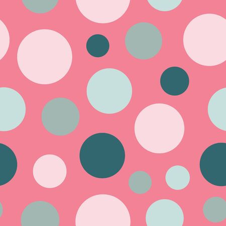 Polka Dots Stylized Floral Collection Repeat Pattern Vector Print Illustration