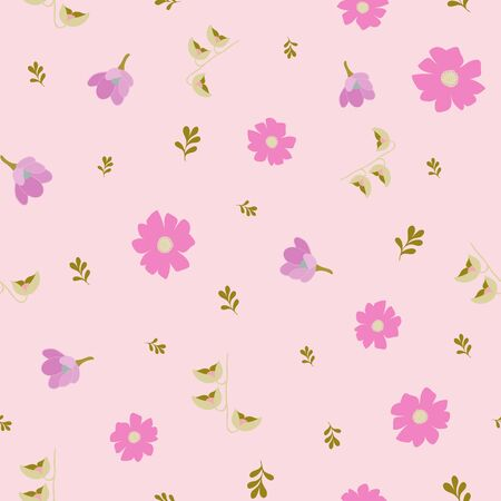 Tiny Stylized Floral Collection Repeat Pattern Vector Print Illustration