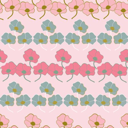 Striped Stylized Floral Collection Repeat Pattern Vector Print