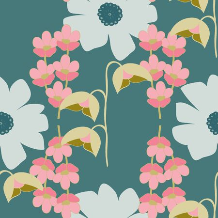 Large Stylized Floral Collection Repeat Pattern Vector Print Illustration