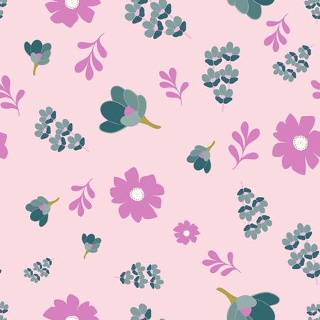 Pink and Teal Stylized Floral Collection Repeat Pattern Vector Print
