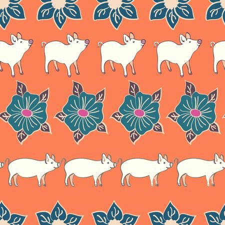 Piggies on Parade Decorative Floral Repeat Seamless Pattern Vector Print