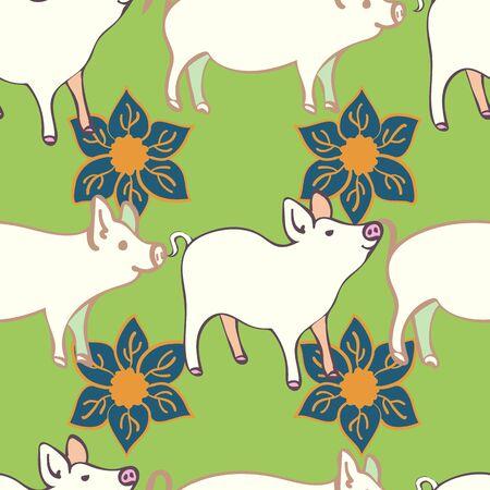 Large Piggy Motif Decorative Floral Repeat Seamless Pattern Vector Print