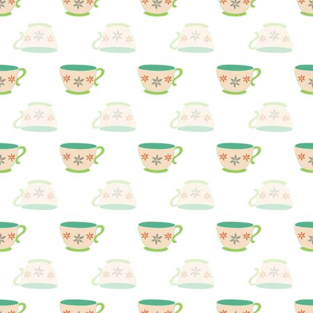 Tea or Coffee in the Morning Repeat Pattern Collection Vector Print. A happy pattern for any occasion. Çizim