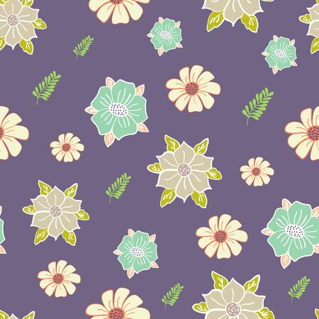 Mauve Scattered Garden Floral Collection Repeat Pattern Vector Print Illustration