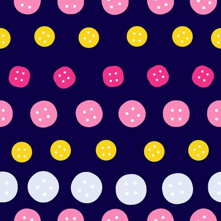 Striped Buttons on Navy Repeat Pattern Seamless Print Vector. A fund backdrop.