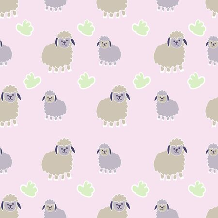 Pink and Green Little Lambs Counting Sheep Collection Repeat Pattern Vector Print. A cute print for children decor or clothing.