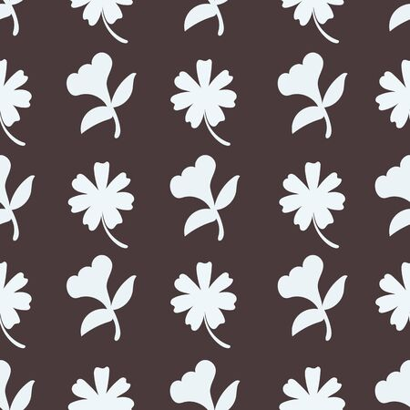 Dark Checked Contrasting Floral Repeat Pattern Vector Print Illustration