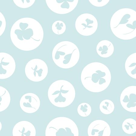 Pale Polka Dot Blue Floral Repeat Pattern Vector Print