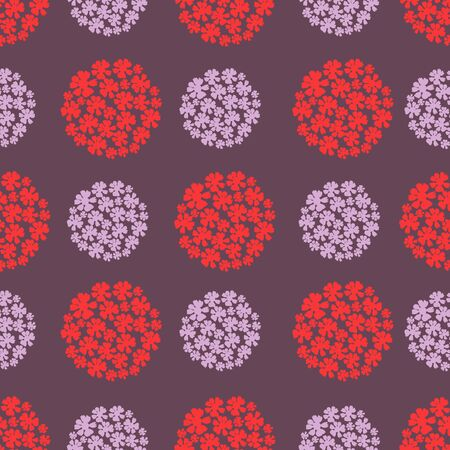 Hydrangeas in Red and Purple Background Repeat Seamless Pattern Vector Print Illustration