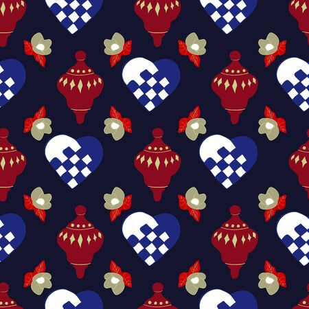 Hearts, Decorations and Magnolias Christmas is Coming Collection Seamless Repeat Pattern Vector Print. A beautiful pattern for the holiday season.