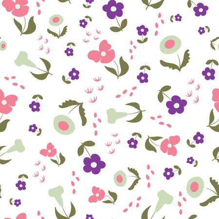 Happy in Lilac Floral Seamless Repeat Pattern Vector Background. Perfect for any surface Ilustracja