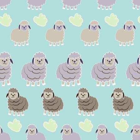 Striped Lambs Counting Sheep Collection Repeat Pattern Vector Print