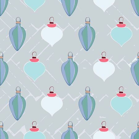 Winter Green Christmas Ornaments Repeat Pattern Vector Print  イラスト・ベクター素材