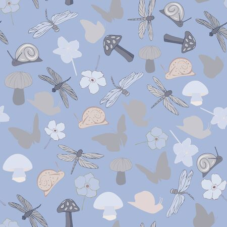 Woodland Floral Seamless Repeat Pattern Vector Background. Excellent for any surface.