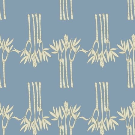 Beautiful Bamboo on a Blue Background Repeat Pattern Vector. A beautiful print for any surface. 일러스트