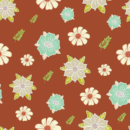 Burnt Orange Garden Floral Collection Repeat Pattern Vector Print. A pretty pattern for any surface.