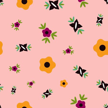 Peachy Pink Folk Floral Collection Repeat Pattern Vector