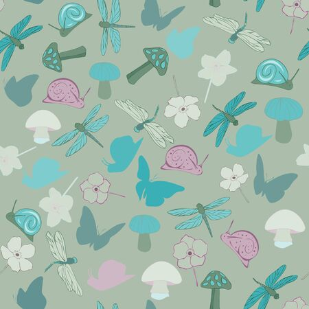Forest Floral Seamless Repeat Pattern Vector Background Stock Illustratie