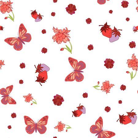 White Print of Butterflies and Strawberries Repeat Pattern in Vector